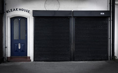 Bleak House (Steve Taylor (Photography)) Tags: bleakhouse 16a letterbox shutter shop store black blue white uk gb england greatbritain unitedkingdom margate door