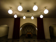 Inside the Tate Britain (Steve Taylor (Photography)) Tags: tatebritain stools array art architecture curtains light brown red white uk gb england greatbritain unitedkingdom london web alcove corridor tunnel tiles