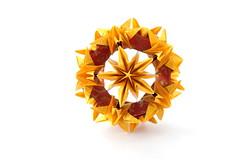 С днем рождения, Валюша! :) (ronatka) Tags: kusudama modularorigami valentinaminayeva yellow red ef50mmf18stm birthday gift square pentagon inexplore