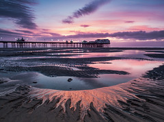 Sunset at North Pier, Blackpool (stephenballam) Tags: sunset blackpool colour photography sand sky clouds reflection pink pier