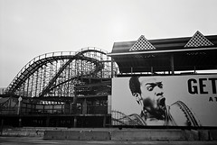 R5-016-6A (David Swift Photography) Tags: davidswiftphotography newjersey wildwoodnj amusements rollercoaster sign signs billboards closedfortheseason jerseyshore 35mm film olympusstylusepic ilfordxp2