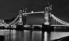 Bridging The Years (Douguerreotype) Tags: thames monochrome lights city night bw uk tower british mono gb blackandwhite architecture britain urban england london bridge river dark water