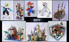 MOCs of 2017 (lingonkart) Tags: moc lego mario spacepirate finalfantasy castlevania magicmountaintimelab robotgirl collage castle basement neckbeard superhero videogames scrapbot tubes airship
