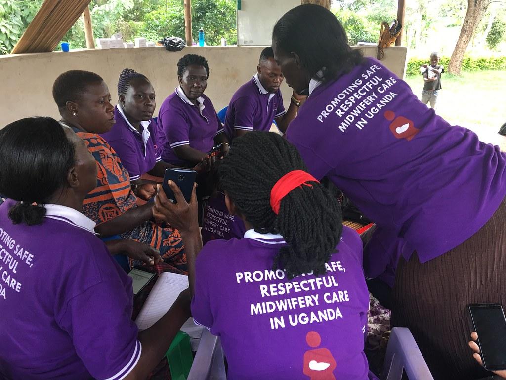 The Shanti Uganda Society - VHT members trained on mobile app to track visits. Photo credit Shanti Uganda