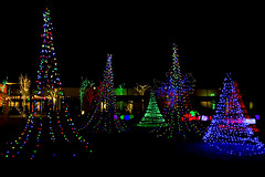 Christmas Light Garden [Explore] (aaronrhawkins) Tags: christmas light display orem utah university mall tree block ball family kids play color colorful dark night sky cold black rainbow contrast aaronhawkins