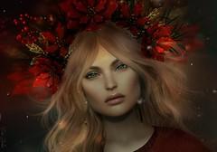 Litte X-mas-Spirit (Eria Ziemia) Tags: christmas xmas xmasheadpiece theannex poinsettia red lelutkabentohead portrait blonde virtualfashion secondlife