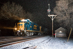 Merry Christmas! (Wheelnrail) Tags: csx csxt emd gp402 locomotive j783 railroad rail road rails turn local christmas eve white snow night flash signal bo cpl ohio troy siding