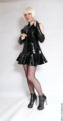 PVC 3 (eileen_cd) Tags: pvc shiny highheels blackdress blonde bob stick polkadottights crossdresser transvestite cd tv