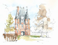 Carrouges, Orne, France (Linda Vanysacker - Van den Mooter) Tags: watercolor watercolour visiblytalented vanysacker vandenmooter tekening sketch schets potlood pencil lindavanysackervandenmooter lindavandenmooter drawing dessin croquis crayon art aquarelle aquarell aquarel akvarell acuarela acquerello kasteel château castle manoir frankrijk france carrouges orne inexplore