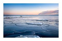 Shapes of ice (Andreas Larzon Photography) Tags: bluesky byske cabin fujinonxf1855mmf2840 fujixt1 ice iceformations intermediatelandscape landscapephotography lightclouds misty oragnesky patternsandtextures ruleofthirds sea seascape shoreline sky sunset sweden winter pier seaside västerbotten halfmoon