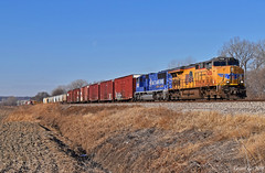 """Eastbound Manifest in Liberty, MO (""""Righteous"""" Grant G.) Tags: up union pacific railroad railway locomotive train trains east eastbound ns norfolk southern kansas city missouri liberty 2002 winter olympic emd ge power"""