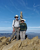 Two Up (LeftCoastKenny) Tags: missionpeak hikers mountains pole marker smog clouds