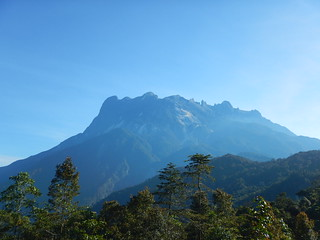 Gunung Kinabalu with on the left and middle landslides from the earthquake of 2015