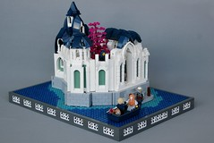 Norya Citadel (soccersnyderi) Tags: lego moc ccc castle model medieval creation fantasy dwelf water lake citadel palace fortress wall stone roof design sandgreen darkblue white bley courtyard battlements gate archway window technique