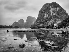 yangshuo (AlistairKiwi) Tags: china olympus travel omd lijiang river guangxi black white monochrome landscape water sky rock olympus1442mm mountain yangshuo explore