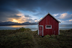 Lofoten Houses (martin.matte) Tags: beach norway clouds sky snow winter water ocean sea ramberg fishing cottage house nature landscape sunset