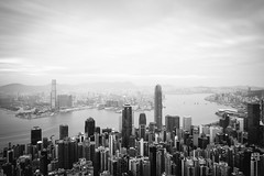 View over Hong Kong (_gate_) Tags: hong kong 香港 cityscape black white victoria peak