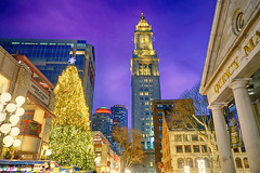 Historic Quincy Market with Custom House Tower (Brooks Payne) Tags: architecture brooksbos boston brooks cybershot city dscrx100m2 evening geotagged hdr massachusetts newengland nationalhistoriclandmark rx100m2 rx100 sony skyline tower urban xmas decorations tree lights christmas cityscape customhousetower quincymarket holiday holidays lighting