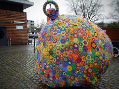 Christmas Buoy-ble (Andrew Gustar) Tags: bristol brunel square crochet buoy bauble yarn bomb