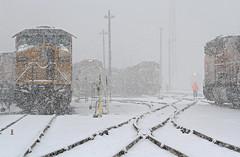 Into a swirling blizzard (Moffat Road) Tags: unionpacific up blizzard northyard rails track hostler locomotive train railroad fueltracks formerriogrande yard locomotivefacility denver colorado snowstorm co
