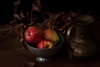 Winter Still Life (suzanne~) Tags: sweet80 lensbaby composerpro apple fruit bowl silver leaf branch pitcher chiaroscuro stilllife tabletop indoor food dark painterly fineart