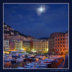 Moonlight on the  Camogli harbor (cienne45) Tags: harbor camogli boats moonlight
