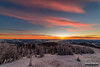 Morning on the Divide (kevin-palmer) Tags: helenanationalforest granitebutte montana lincoln rockymountains nikond750 whitebarkpine trees early morning dawn sunrise december winter cold snow snowy frost frosty frosted clouds sun sunlight color colorful orange gold golden yellow pink fog foggy samyang rokinon14mmf28 summit peak rimeice inversion crescentmoon