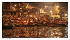 Crowd scene at the Burning Ghat, Varanasi, India, approaching the shore of the Ganges at night. (Richard Murrin Art) Tags: crowdsceneattheburningghat varanasi india approachingtheshoreofthegangesatnight richard murrin art photography canon 5d landscape travel images building cool