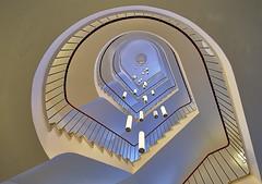 Dolomit (Arx Zyanos) Tags: sony a6500 ilce6500 samyang samyang1220 12mm stair stairs staircase staircases treppe treppenhaus architecture architektur blue light munich münchen hdr sonya6500 ceiling lamps rotunda