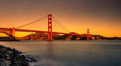 """Golden Gate Sunrise"" (Manuela Durson) Tags: golden gate bridge san francisco bay suspension california architecture building water morning sunrise panorama warm landscape"