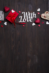 Valentines day, wedding or other holiday decorations, frame background. (lyule4ik) Tags: day gift love background concept decoration heart red valentine present romance box card wooden holiday retro ribbon vintage wood christmas rustic surprise anniversary greeting february bow color copy design pink space celebration wedding romantic symbol birthday beauty table wrapping festive confetti feeling nobody paper saint tied fabric old texture white