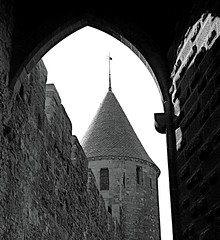 Medieval Carcassonne (Colorado Sands) Tags: sandraleidholdt france blackandwhite tower carcassonne french europe southernfrance arch monochrome architecture building stone fortress watchtower lacité unesco medieval