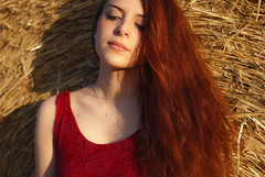 Eleonore (LiGinn) Tags: redhead portfolio portrait model shooting shoot modeling red hair redhair 50mm photography photo moments beautiful girl redgirl sunflowers fields tuscany italy nikon d60