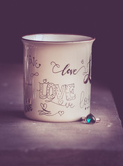 love (Ayeshadows) Tags: coffee mug love calligraphy by me heart aqua ring