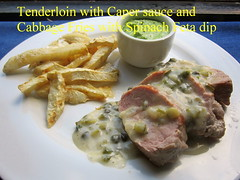 Tenderloin with Caper sauce and Cabbage Fries with Spinach Feta dip (nadjadejong) Tags: food dinner cooking cooked homemade celeriac fries spinach feta rucola dip tenderloin caper sauce