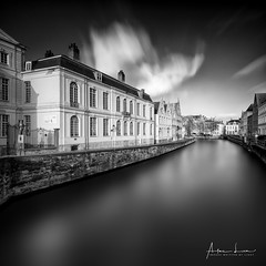 Nostalgic Bruges I (Alec Lux) Tags: bnw architecture belgium blackandwhite bricks bridge bruges brugge building buildings canal city daylight house landscape longexposure medieval nature old street tree water vlaanderen be