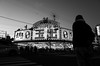 Is this building a casino? (明遊快) Tags: shop street dusk evening japan osaka 西成 bw blackandwhite スーパー玉出 people