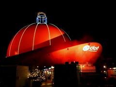 Giant Christmas bauble (jehazet) Tags: christmasdecoration light nightscape groningen cafe bauble dome kerstbal kerstversiering avond rood red jehazet explore