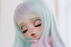 Rainbow *for Eudoxie* (-Poison Girl-) Tags: pullip pullips doll dolls custom customs rainbow wig hair long wavy waves turquoise blue pink eyelids eyechips eyelashes obitsu body makeup faceup poisongirlsdolls poisongirldolls poison girl nose carving carved mouth lips colorful 2017 junplanning jun planning groove grooveinc