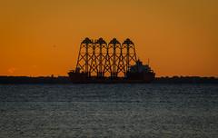 Loaded with four towers (frankmh) Tags: ship cargoship tower sunset öresund denmark outdoor