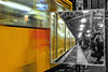 Yellow (JuliSonne) Tags: citylife streetphotography traffic lights wideview people bw hdr train transport reflection mirror