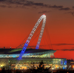Tottenham Hotspur Wembley Arch (andy.gittos) Tags: wembley stadium arch lights sunset gladstone park london night football soccer arena tottenham hotspur spurs premier league epl