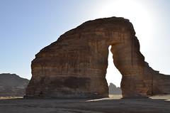 Elephant Rock (Jabal Sakhrat Al Fiil) (t r a v e l a d v e n t u r e) Tags: rock huge enormous nikon d7000 saudiarabia desert sand shape elephant high photograph travel destination middleeast nature stone ancient sky road natural