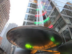 Christmas Lit Saucer Office Entrance 5107 (Brechtbug) Tags: christmas lit saucer office entrance nyc 2017 new york city 6th avenue 40th street silver metal stealth ave st space ship spaceship sneaky alien aliens art architecture midtown manhattan modern contemporary invasion science fiction theme themes ufo unidentified front door flying object hiding lobby building light lite 12172017 december tree lights green red
