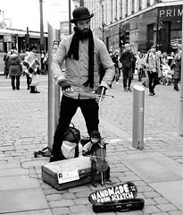 ettenoiram (LozHudson) Tags: fuji x100s fujifilmx100s mono monochrome blackwhite blackandwhite manchester streetperformers marionette puppet puppeteer street streetphotography
