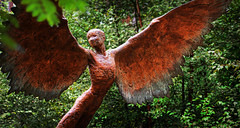 Icarus (andycurrey2) Tags: smileonsaturday angelsonearth angel art woodland sculpture metal rust trees outdoors fly statue