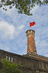 flag tower in hanoi (bobinskiii) Tags: hanoi vietnam asia asian vietnamese flag flags tower towers flagtower flagtowers architecture old historic brick brown cloud clouds blue sundaylights