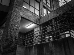 (kennymiskell) Tags: black white ghost haunted stairs building cincinnati railing brick house industry hostoric blackwhite tree pretty ghostly inverted abandoned window gate mono blue red industrial fire pump firepump car ford yellow light garage hallway creepy rail steps gears bolts fence safe iron wood pole