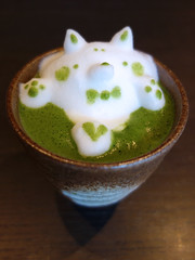 Kyoto - 3D green tea latte art (dog) (fb81) Tags: japan kyoto kawaii cute matcha green tea dog milk foam cup saucer coffee café 3d latte art