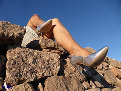 614 m. (Sofeet !) Tags: sexy pretty legs pump high heel silver stockings anklet
